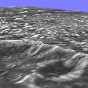 Topographic detail is seen in a stereoscopic view of this part of Jupiter's moon Ganymede. This image is a computer reconstruction from two images taken by NASA's Galileo spacecraft in 1996.