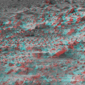 This area of terrain near the Sagan Memorial Station was taken by NASA's Mars Pathfinder. 3-D glasses are necessary to identify surface detail.