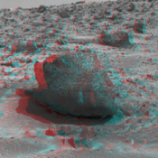 Yogi, a rock taller than NASA's rover Sojourner taken in stereo by NASA's Mars Pathfinder. 3-D glasses are necessary to identify surface detail.