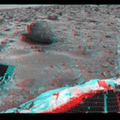 This 360-degree panorama was taken by NASA's Mars Pathfinder. Three petals and the perimeter of the deflated airbags are seen in the foreground. 3-D glasses are necessary to identify surface detail.