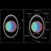 Taking its first peek at Uranus, NASA's Hubble Space Telescope's Near Infrared Camera and Multi-Object Spectrometer (NICMOS) detected six distinct clouds in images taken July 28,1997.