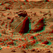 This view of 'Bookshelf Two' was produced by combining the 'Super Panorama' frames from the IMP camera from NASA's Mars Pathfinder lander. 3D glasses are necessary to identify surface detail.