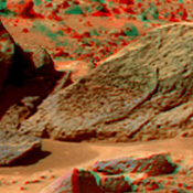 This anaglyph view of 'Half Dome' was produced by NASA's Mars Pathfinder's Imager camera. 3D glasses are necessary to identify surface detail.