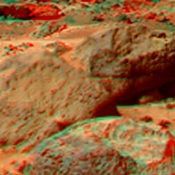 This is a stereo view of 'Moe & Pumpkin', part of the 'Bookshelf' at the back of the 'Rock Garden' to the southwest of NASA's Mars Pathfinder lander. 3D glasses are necessary to identify surface detail.