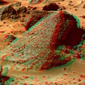 This anaglyph view of 'Wedge' was produced by NASA's Mars Pathfinder's Imager camera. 3D glasses are necessary to identify surface detail.
