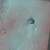 This image of the vicinity of the Viking Lander 1 was captured by NASA's Mars Global Surveyor's MOC camera. site. 3D glasses are necessary to identify surface detail.