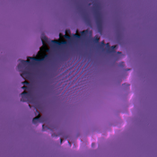 This anaglyph from NASA's Mars Reconnaissance Orbiter is of 'Victoria Crater.' 3D glasses are necessary to identify surface detail.