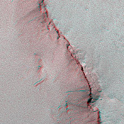 The anaglyph is helpful to see that the dark streaks really do occur on a slope in this image taken by NASA's Mars Global Surveyor 1999. 3D glasses are necessary to view this image.