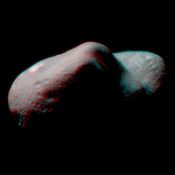 Stereo imaging, an important tool on NASA's NEAR Shoemaker for geologic analysis of Eros, provides three-dimensional information on the asteroid's landforms and structures. 3D glasses are necessary to view this image.