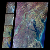 These multi-angle images of Delaware Bay, Chesapeake Bay, and the Appalachian Mountains, acquired 24 March 2000 from NASA's Terra spacecraft, come from the downward-looking (nadir) camera on the MISR instrument onboard NASA's Terra satellite.