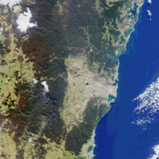 This image from NASA's Terra satellite was acquired on July 11, 2000 (Terra orbit 3009) and shows a 200-kilometer section of the eastern Australian coast, centered around the Sydney metropolitan area.