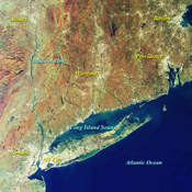 This image from NASA's Terra satellite on October 20, 2000, shows New York and Southern New England.