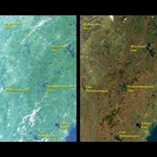 These images from NASA's Terra satellite include eastern Vermont, New Hampshire, and western Maine, as well as the southeastern corner of Quebec province between August and October, 2000.