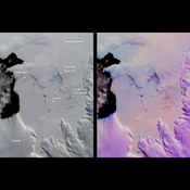 This pair of images from NASA's Terra satellite are of the Pine Island Glacier in western Antarctica, acquired on December 12, 2000 during Terra orbit 5246.