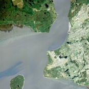 Anchorage, Alaska and Cook Inlet are seen in this sub-image, acquired May 12, 2000 by NASA's Terra spacecraft. At the center of the image is the Ted Stevens Anchorage International Airport; in the upper right corner is Elmendorf Air Force Base.