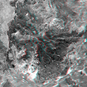 This anaglyph, from NASA's Shuttle Radar Topography Mission, shows elatively young volcanoes in northern Patagonia, at Los Menucos, Argentina. 3D glasses are necessary to view this image.