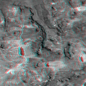This anaglyph, from NASA's Shuttle Radar Topography Mission, shows complexly eroded volcanic terrain in northern Patagonia, near El Cain, Argentina. 3D glasses are necessary to view this image.