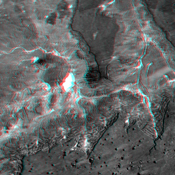 This anaglyph, from NASA's Shuttle Radar Topography Mission, shows basalt cliffs along the northwest edge of the Meseta de Somuncura plateau near Sierra Colorada, Argentina. 3D glasses are necessary to view this image.