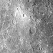 A faint double ring crater is seen at upper right in this picture of Mercury taken one hour and 40 minutes before NASA's Mariner 10's second rendezvous with the planet Sept. 21, 1975