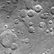 One of NASA's Mariner 10's two TV cameras took this picture of a densely cratered region of Mercury on Sept. 21, 1974, 80 minutes prior to the spacecraft's second close encounter with the planet.