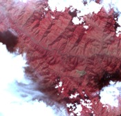 This image acquired by NASA's Terra spacecraft on Oct. 11, 2005, depicts a 30-kilometer (19-mile) wide region southeast of the epicenter of the magnitude 7.6 Pakistan earthquake, between Muzaffarabad and Uri in the Pir Punjal range of Kashmir.