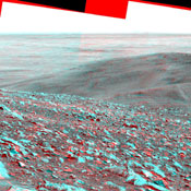 NASA's Mars Exploration Rover Spirit obtained this stereo panorama of the surrounding Martian terrain in Gusev Crater . 3D glasses are necessary to view this image.