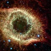 The Helix nebula exhibits complex structure on the smallest visible scales. It is composed of gaseous shells and disks puffed out by a dying sun-like star.