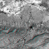 This anaglyph NASA's Shuttle Radar Topography Mission, shows the Haro and Kas Hills of the Kachchh region in western India. 3D glasses are necessary to view this image.