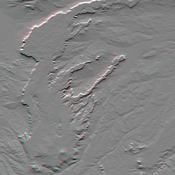 This anaglyph, from NASA's Shuttle Radar Topography Mission, is of Patagonia, near La Esperanza, Argentina. 3D glasses are necessary to view this image.