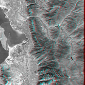 This anaglyph, from NASA's Shuttle Radar Topography Mission, is of Salt Lake City, Utah. 3D glasses are necessary to view this image.
