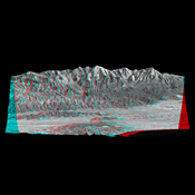 Mount San Antonio (more commonly known as Mount Baldy) crowns the San Gabriel Mountains northeast of Los Angeles, Calif., in this anaglyph from NASA's Shuttle Radar Topography Mission. 3D glasses are necessary to view this image.
