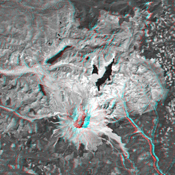 This anaglyph, from NASA's Shuttle Radar Topography Mission, is of Mount St Helens, Washington. 3D glasses are necessary to view this image.