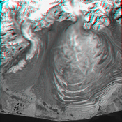 This anaglyph, from NASA's Shuttle Radar Topography Mission, is of Malaspina Glacier in southeastern Alaska. 3D glasses are necessary to view this image.