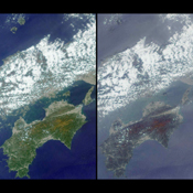 These images, centered just north of Shikoku Island in southwest Japan, were acquired by NASA's Terra satellite on April 13, 2001 during Terra orbit 7015.