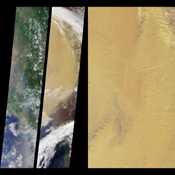 These images from NASA's Terra satellite eastern China compare a somewhat hazy summer view from July 9, 2000 (left) with a spectacularly dusty spring view from April 7, 2001 (middle).