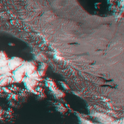 This anaglyph from the MISR instrument aboard NASA's Terra spacecraft shows the rugged Southern Alps extending some 650 kilometers along the western side of New Zealand's South Island. 3D glasses are necessary to view this image.