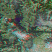 This anaglyph from the MISR instrument aboard NASA's Terra spacecraft shows the area around Jackson Hole, Wyoming, where the Green Knoll forest fire raged for many days in July, 2001. 3D glasses are necessary to view this image.