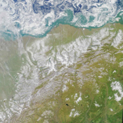 This colorful image of the Arctic National Wildlife Refuge and the Beaufort Sea was acquired by the NASA's Terra satellite on August 16, 2000, during Terra orbit 3532.