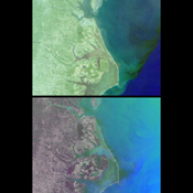 These images of mixing waters and moving ships off the North Carolina Coast were acquired by NASA's Terra satellite on October 11, 2000 (Terra orbit 4344).