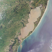 The 'Lagoa dos Patos,' in the Brazilian state of Rio Grande do Sul, translates to 'the Duck Lagoon.' This image from NASA's Terra satellite is MISR Mystery Image Quiz #5.