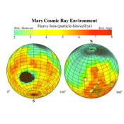This global map of Mars, based on data from NASA's Mars Odyssey, shows estimates for amounts of high-energy-particle cosmic radiation reaching the surface, a serious health concern for any future human exploration of the planet.