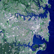 This image of Sydney, Australia was acquired on October 12, 2002 by the Advanced Spaceborne Thermal Emission and Reflection Radiometer (ASTER) on NASA's Terra satellite.