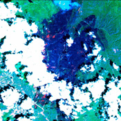 This image was acquired on June 16, 2002 by NASA's Terra satellite and shows the Hayman forest fire in the Pike National Forest, Colorado.