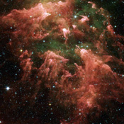 These false-color image taken by NASA's Spitzer Space Telescope shows the 'South Pillar' region of the star-forming region called the Carina Nebula.