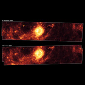 These  images from NASA's Spitzer Space Telescope, taken one year apart, show the supernova remnant Cassiopeia A (yellow ball) and surrounding clouds of dust (reddish orange).