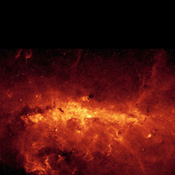 Our Milky Way is a dusty place. So dusty that we cannot see the center of the galaxy in visible light. Thanks to NASA's Spitzer Space Telescope's excellent resolution, the dusty features within the galactic center are seen in unprecedented detail.