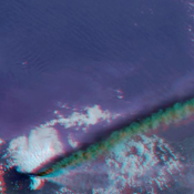 This anaglyph from the MISR instrument aboard NASA's Terra spacecraft captured the energetic eruption of Sicily's Mount Etna volcano on October 29, 2002. 3D glasses are necessary to view this image.