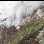 NASA's Terra spacecraft captured the snowstorm which swept across the eastern United States on December 4 and 5, 2002, bringing the season's first snow to parts of the south and southern Appalachia.