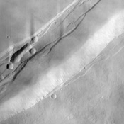 This NASA Mars Odyssey image shows a portion of the summit region of Arsia Mons, one of the four giant volcanoes in the Tharsis region of Mars. This volcano stands more than 20 km above the surrounding plains, and is about 450 km in diameter at its base.