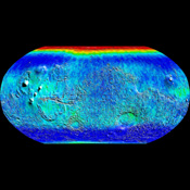 Observations by NASA's Mars Odyssey spacecraft show a global view of Mars in low energy, or thermal, neutrons. Thermal neutrons are sensitive to the presence of hydrogen and the presence of carbon dioxide, in this case 'dry ice' frost.